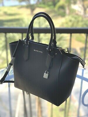 34710c63a8c1 Nwt Michael Kors Pebbled Leather Hayes Large North South Tote Bag In Black