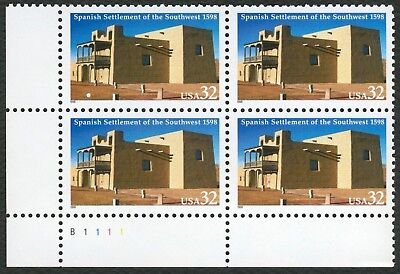 #3220 32c Spanish Settlement of SW, Plate Blk [B1111 LL], Mint ANY 4=FREE SHIP
