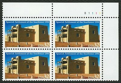 #3220 32c Spanish Settlement of SW, Plate Blk [B1111 UR], Mint ANY 4=FREE SHIP