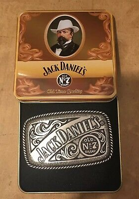 Jack Daniels Silver Pewter Old No.7 Western Cowboy Belt Buckle/Collector's tin