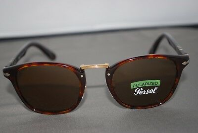 ab490a26cd05 NEW PERSOL 3110 Sunglasses 24/57 49mm Polarized Brown Typewriter Edition