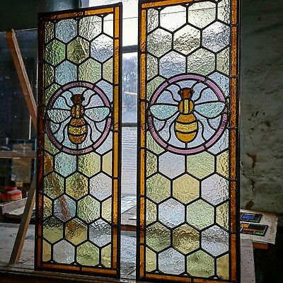 Manchester Worker Bee Stained Glass Door Panels, handmade to order