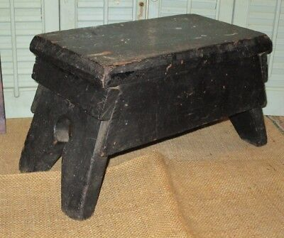Primitive FOOT STOOL Milking Bench w OLD BLACK Paint  CANTED Keyhole Ends