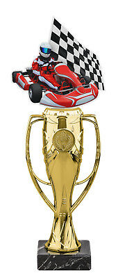 GO KART RACING PARTY ACRYLIC TROPHY CUP GOLD OR SILVER *FREE ENGRAVING* 340mm