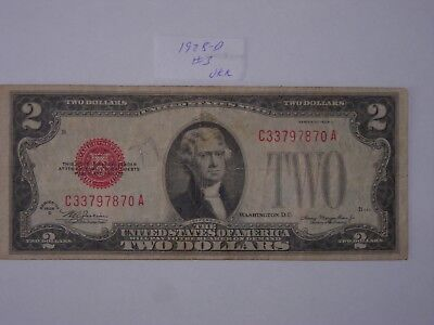 $2 Dollar 1928-D Lot #3 Two Dollar Bill Red Seal Certificate , Nice Rare Note