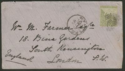 Cape of Good Hope 1893 QV 2½d Used on Cover to UK w WYNBERG numeral 6 Postmark