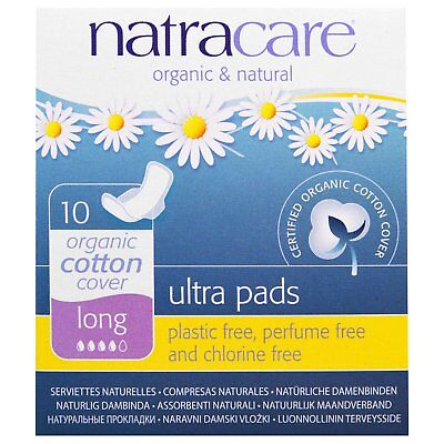 Natracare: Ultra Pads, Organic Cotton Cover, Long, 10 Pads