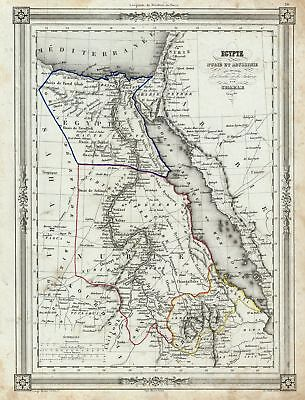 1852 Charle Map of Egypt, Nubia, Abyssinia, with parts of Arabia and the Sahara