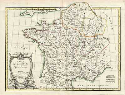 1773 Bonne Map of Gaul (Gallia) or France in Ancient Roman Times