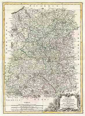 1771 Bonne  Map of Isle de France (vicinity of Paris), France