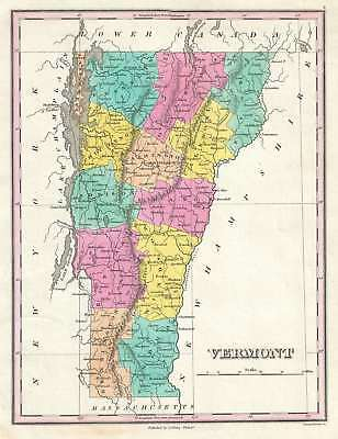 1828 Finley Map of Vermont