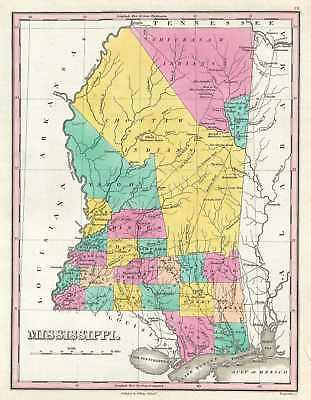 1828 Finley Map of Mississippi