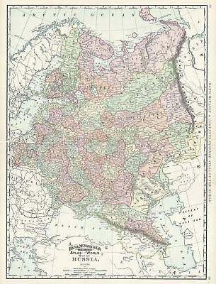1892 Rand McNally Map of Russia