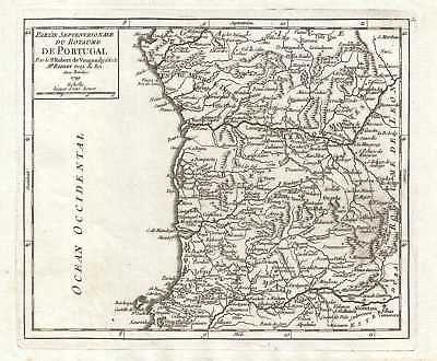 1749 Vaugondy Map of Northern Portugal