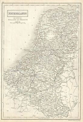 1844 Black Map of the Kingdom of Netherlands (Holland, Belgium and Luxembourg)