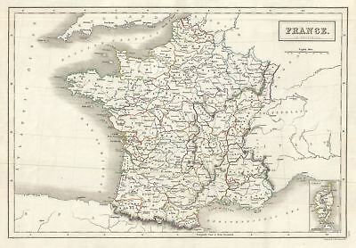 1844 Black Map of France in Provinces
