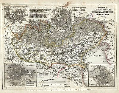 1849 Meyer Map of Austrian Kingdom in Northern Italy (Lombardy-Venetia), Italy