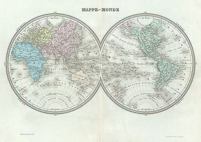1874 Tardieu Map of the World in Hemispheres