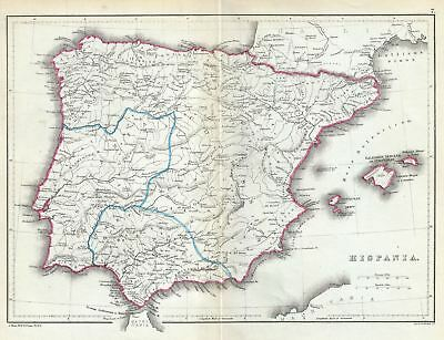 1867 Hughes Map of Hispania or Spain and Portugal under the Roman Empire