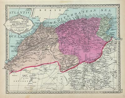 1887 Tunison Map of Northwestern Africa (Algeria, Tunis, Morocco)