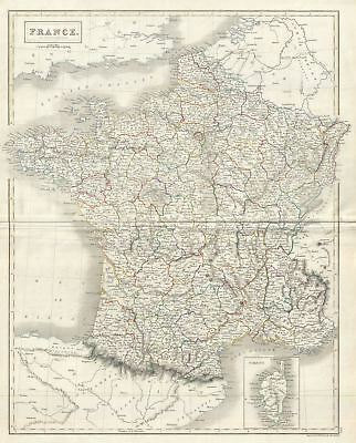 1844 Black Map of France in Departments