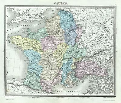 1874 Tardieu Map of Gaul or France in Ancient Roman Times