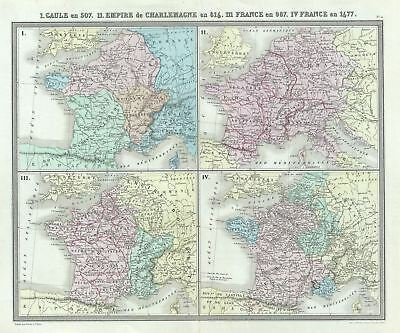 1874 Tardieu Map of Gaul or France in 507, 816, 987 and 1677