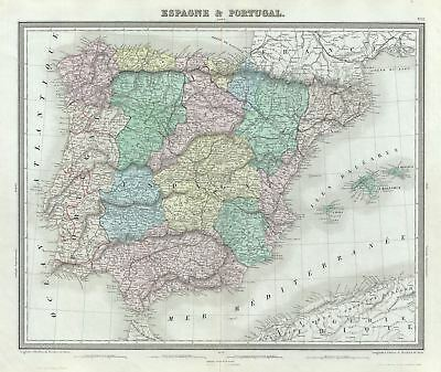 1874 Tardieu Map of Spain and Portugal