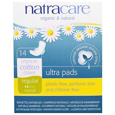 Natracare: Ultra Pads, Organic Cotton Cover, Regular, Normal, 14 Pads