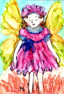ACEO Sleepy Shy Flower Fairy Alcohol Ink Painting Art Original by Penny StewArt