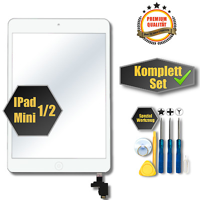 Apple iPad Mini 1 2 Digitizer Display Glas Touchscreen weiss+Homebutton+IC Chip
