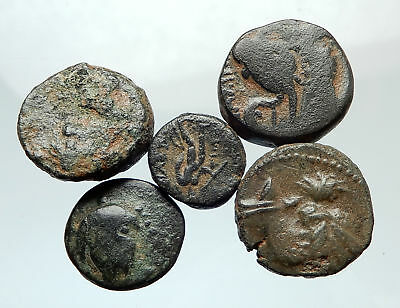 AUTHENTIC Ancient 400BC-250AD GREEK - 5 COINS Group Lot KIT Collection i75536