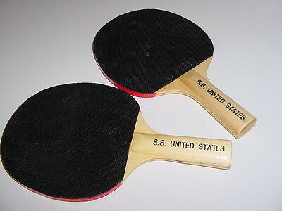 SS UNITED STATES LINES  (2) Ping-Pong Paddles   /   Excellent Condition