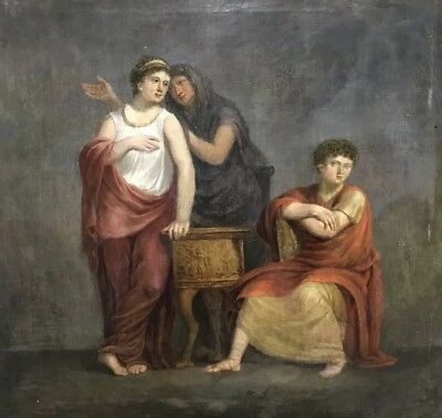 Fine Large 18Th Century Italian School Three Classical Figures - Oil On Canvas
