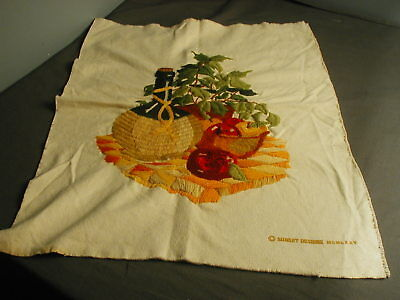 VINTAGE CREWEL WORK DESIGN OF WINE BOTTLE & FRUIT ON MUSLIN SUNSET DESIGN - t 38