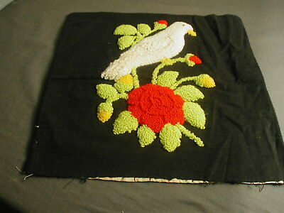 "VINTAGE CREWEL WORK PILLOW COVER - HEAVY TUFTED - BIRD & FLOWER - 16"" SQ - t 38"
