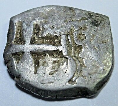 1758 Spanish Silver 1 Real Cob Piece Of 8 Reales Pirate Treasure Colonial Coin