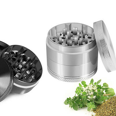 4 Piece Magnetic 2 Inch Silver Tobacco Herb Grinder Spice Aluminum With Scoop