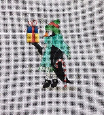 Renaissance Mini Christmas Needlepoint Canvas Stocking Hand Painted Penguin