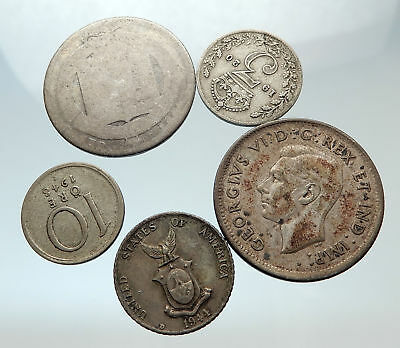 GROUP LOT of 5 Old SILVER Europe or Other WORLD Coins for your COLLECTION i75489