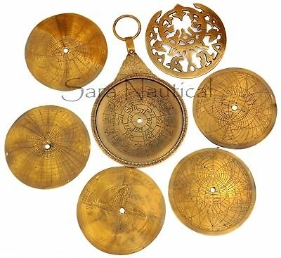 Brass Astrolabe Arabic Calendar Navigation Vintage Astrological Globe Antique18""