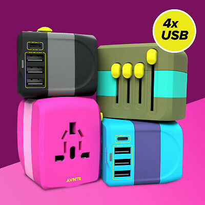 Universal Travel Plug Adapter // with 3x USB & 1x USB-C // 10A & Fast Charge
