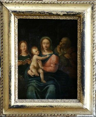 17th CENTURY FRENCH OLD MASTER OIL - HOLY FAMILY & FEMALE SAINT - TO RESTORE