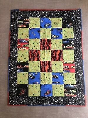 "Handmade Patchwork Quilt Boys Kids Racing Car Size 35"" x 47"" Quality made"
