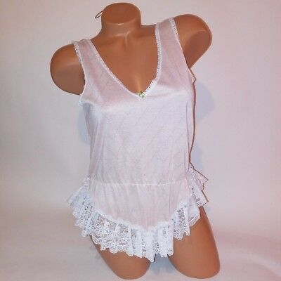 0ae8111b219b Vintage Lingerie Teddy Bodysuit One Piece Small Pink White Lace Trim