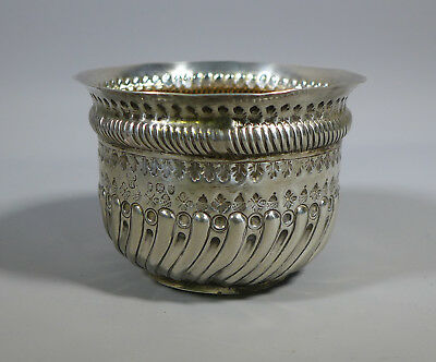 Antique Sterling Silver Embossed Bowl Inset With George Ii Shilling? Coin 1893