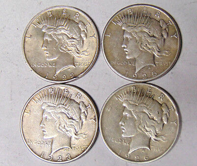 Lot of 4 Peace Silver Dollars: 1922-D 1923-S 1925 1926-D Fine and Very Fine