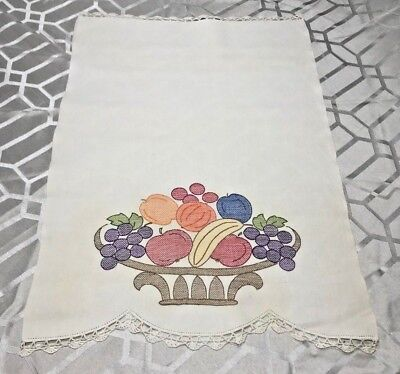 """Vintage Needlework Embroidered Applique Crochet Table Scarf Runner 26"""" X 18"""""""