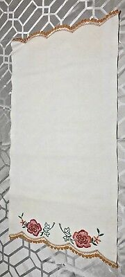 """Vintage Needlework Embroidered Applique Crochet Table Scarf/Runner 26""""X 17 1/2"""""""