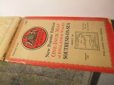 """Southend On Sea To Colchester- Essex-War Office Ordnance Map 1930-1945: 1"""" Scale"""
